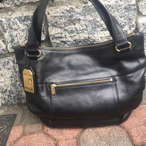 Ralph Lauren Black Leather Tote Bag