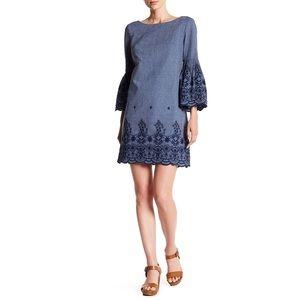 Eliza J Embroidered Denim Dress