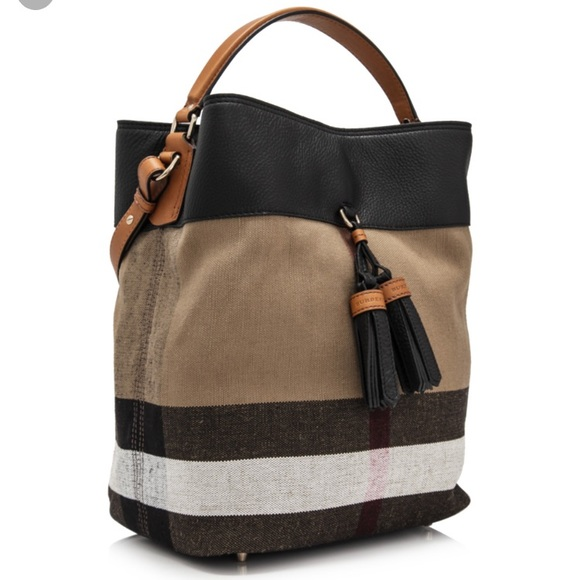 5b41e7c39 Burberry Handbags - Burberry Ashby Canvas Check and Leather Bucket Bag