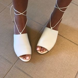 Sam Edelman white leather Lace up sandals