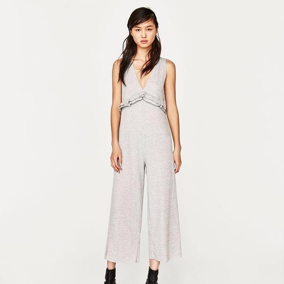 556c0d526d8 NWT ZARA Gray Ribbed Culotte Jumpsuit