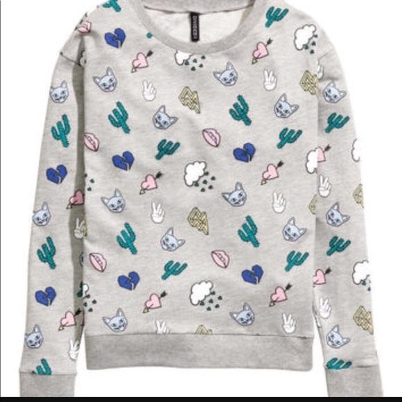 H M Tops - H M cactus cat cloud heart printed sweatshirt 8b7a08122