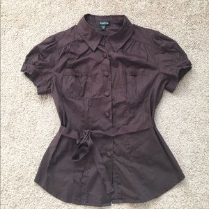 Bebe brown short sleeve puff sleeve blouse size M