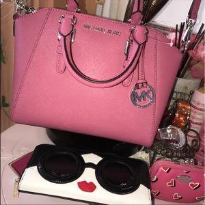 Michael Kors Pink Saffiano Leather Shoulder Bag