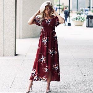 Dresses & Skirts - Burgundy off the shoulder floral dress