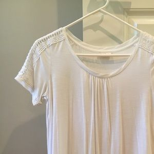 Anthropologie T-shirt with crochet detail