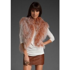 Alice and Olivia Aja Pink Mongolian Fur Vest M