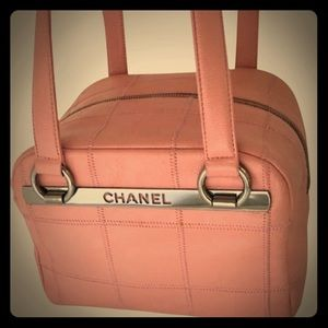 Authentic Chanel Square Stitch Bowler Handbag