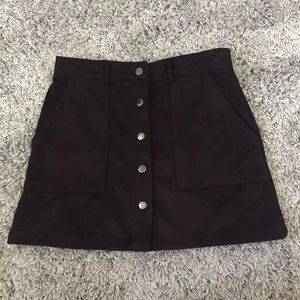 Forever21 Faux Suede Black Button Down Mini Skirt