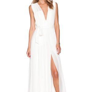 L'Agence Deep V-Neck Pleated Maxi Dress