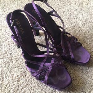 Prada strappy purple heels size 37 1/2