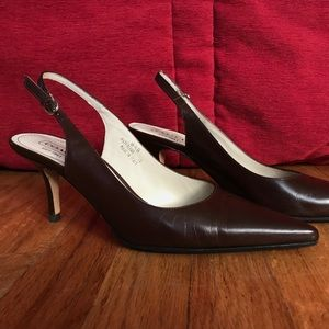 Coach Slingback Heels, brown leather size 8.5
