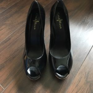 Cole Haan Mariela Patent Leather Peep Toe Pumps