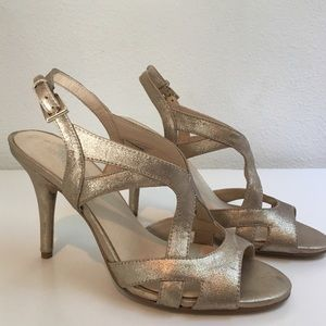 Brand New Nine West Gold Leather Sandals Size 6.5