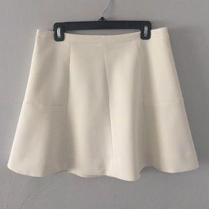 J. Crew Factory White Flared Skirt