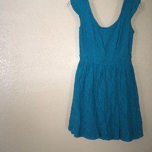 Lacy bright blue dress!
