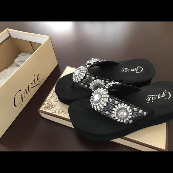4d4502137 Grazie Shoes - Grazie bedazzled flip flops