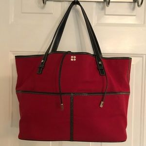 🛍 Kate Spade Red Large Leather Canvas Tote Bag