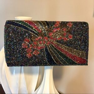 Handbags - Beautiful deep blue/multi beaded evening bag