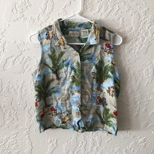 Vintage Cropped Vacation Button Up tank