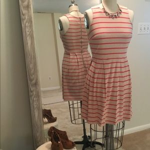 Loft Cozy Striped Fit and Flare Dress