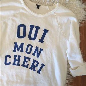 J. Crew Oui Mon Cheri Crewneck Sweatshirt