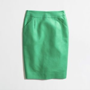 J. Crew Factory Green Cotton Pencil Skirt