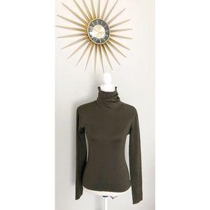 Neiman Marcus Silk Blend Olive Turtleneck Sweater