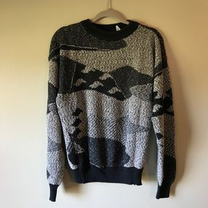 Vintage 80s Oversized Grey and Black Swirl Sweater