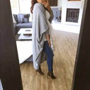 Sweaters - LAST ONE_ Ash gray cocoon long cardi