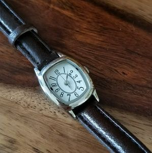 Thin Silver Watch with Brown Strap