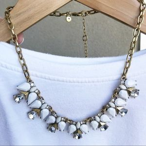 JCrew White and Gemstone Statement Necklace