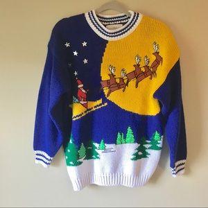 Vintage 80s Oversized Christmas Santa Sweater