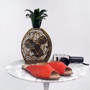 Zara V Cut Leather Slides - Bright Orange
