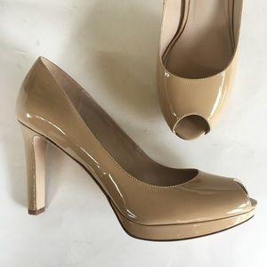 NEW VIA SPIGA nude beige peep toe platform pumps