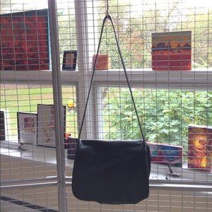 Vintage Prada black leather crossover bag/w cover
