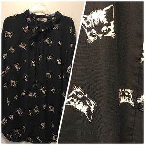 ModCloth kitty cat blouse button down w/ neck tie