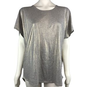 Two By Vince Camuto Gold Shimmer Blouse Top