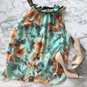Alta'rd state Mint Turquoise Floral Chiffon Tank