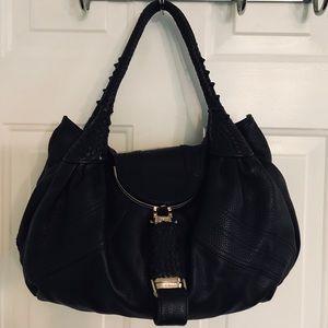🛍 FENDI Black Nappa Leather Spy Bag Hobo Bag