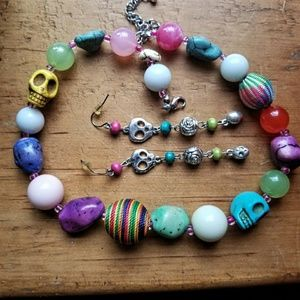 Jewelry - Sugar Skull 🌝Chunky Beaded Necklace & Earring Set
