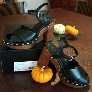 Vegan leather chunky heel.