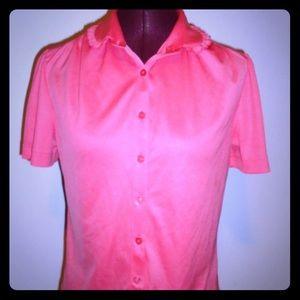 Vintage Pink Ruffles Top S M