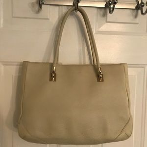 🛍 Kate Spade Cream Large Leather Tote Bag