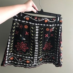 Floral Embroidered Mini Skirt NWOT