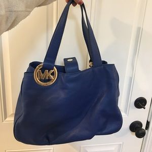 Michael Kors blue leather bag