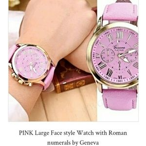 🐩 Pink Large face watch with Roman numerals