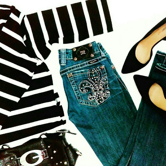 Miss Me Denim - Miss Me Jeans w/ Fleur De Lis & Rhinestones