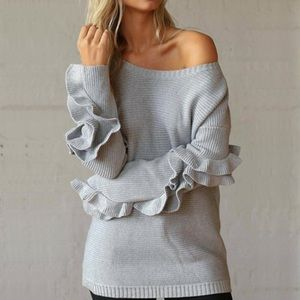 💥 SALE Cozy Knit Ruffled Sleeve Crew Neck Sweater