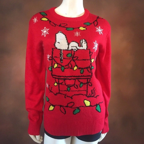 peanuts christmas sweater red snoopy lights